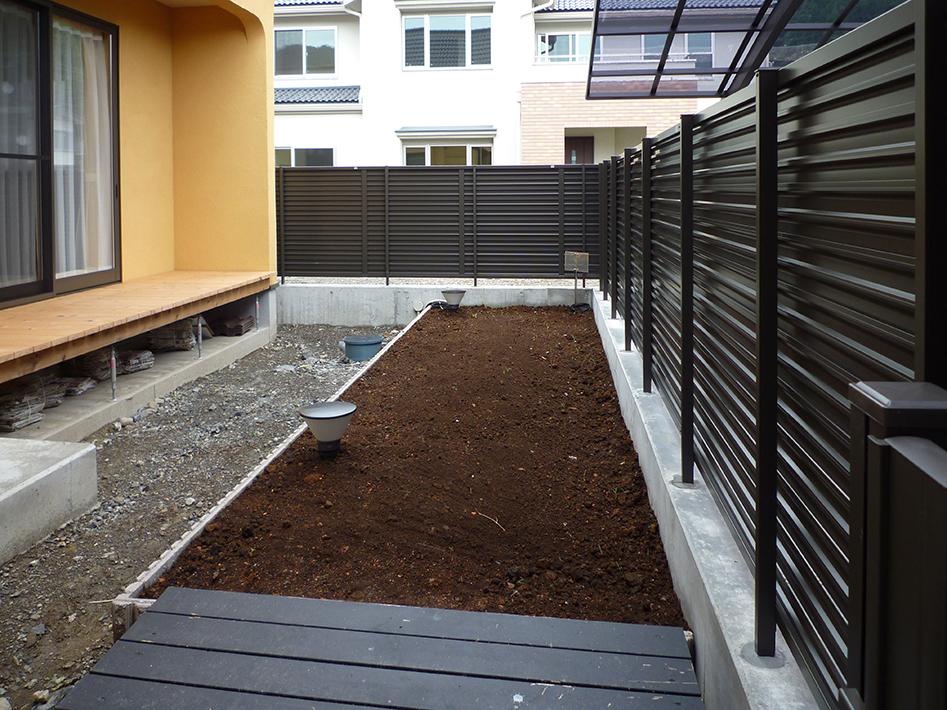 フェンスで囲まれた菜園