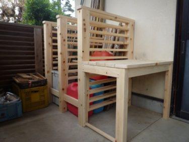 ☆園芸用品入れ仕切り、棚、設置工事依頼。