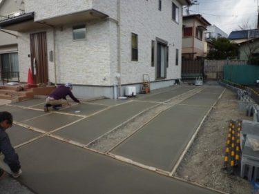 外構工事②駐車場のコンクリート打ち